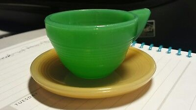 Akro Agate  Child's Tea Set Green Cup Gold Tan Saucer