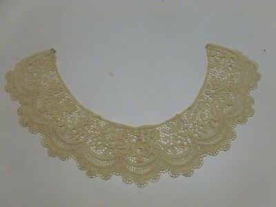 Vtg Antique Edwardian Victorian Hand Made Ivory Lace Crochet Collar