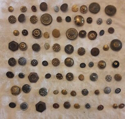 Lot of 80 Antique Victorian Fancy Pierced Metal buttons ornate floral