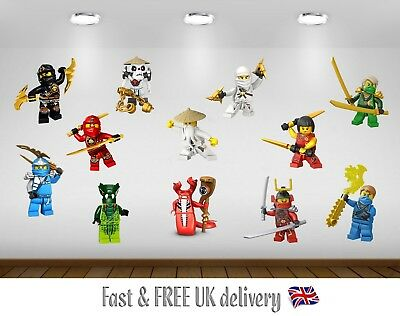 Lego Ninjago Kids Bedroom Vinyl Decal Wall Art Stickers - 12 Character SET