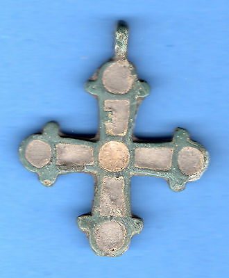 Russia Kiev type Bronze Enamel Cross Pendant Viking time 10-12th ca 1100 AD 221