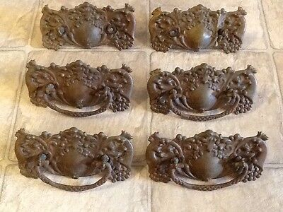 """6 antique drawer pulls ; 3"""" hole span ; 5.5"""" width ; 3"""" height"""