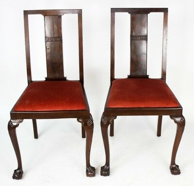 Pair of Antique Mahogany Dining Chairs with Ball & Claw Feet [PL4043B]
