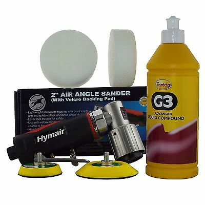 "75mm (3"") Mini DA Air Polisher Kit + 500ml Farecla G3 & 2 Compounding Foam Heads"