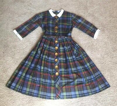 1950s/1960s Girl's Plaid Dress by Tiny Town Togs - Children's Size