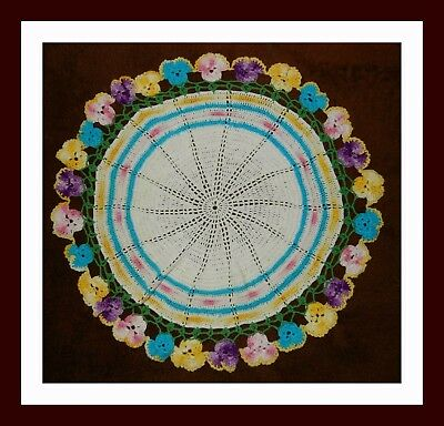 Gorgeous Vintage Hand Crocheted Large Doily Table Mat Edged with Pansies Pansy