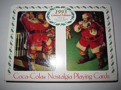 New 1993 Limited Edition Nostalgia Coca Cola Playing Cards-2 decks with Tin