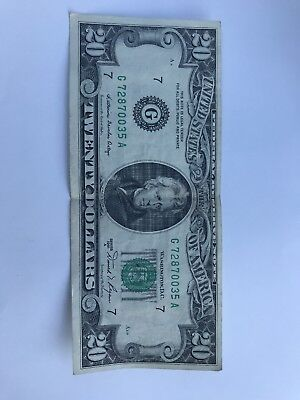 1981 series A (B/D G/B J/A) $20 Dollar Federal Reserve Note Bill US Currency