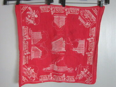 VINTAGE 30S LEE ADVERTISING BANDANA House 1936 Shriner Temple RODEO FAST COLOR