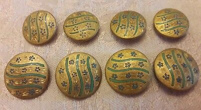 Lot of 8 Vintage Antique Painted Metal Flower Buttons matching set