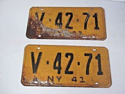 Pair 1941 New York Car, Auto, Truck  License Plates Yellow/Black Letters V-42-71