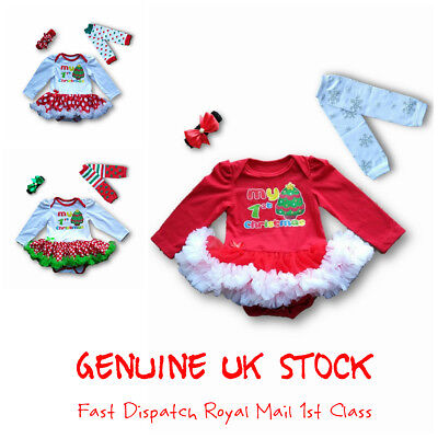 Christmas Baby Girl Tutu Dress Outfit 1st Christmas Fancy Party Dress Romper