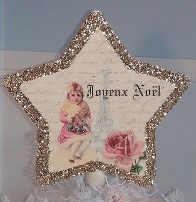 Handmade French Vintage Eiffel Tower Christmas Tree Topper Shabby Cottage Chic
