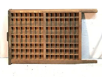 """Vintage Large Wood Printers Tray Type Case! 22"""" x 17"""" With 98 box brass handle"""