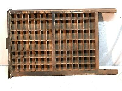 "Vintage Large Wood Printers Tray Type Case! 22"" x 17"" With 98 box brass handle"