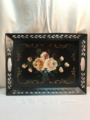 Vtg Black Metal Cottage Tole Painted Country Rose Flowers Tray Filigree Handles