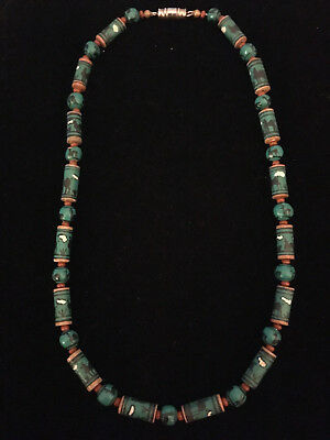*VINTAGE* Pueblo Native American Southwestern Painted Wood Beaded Necklace