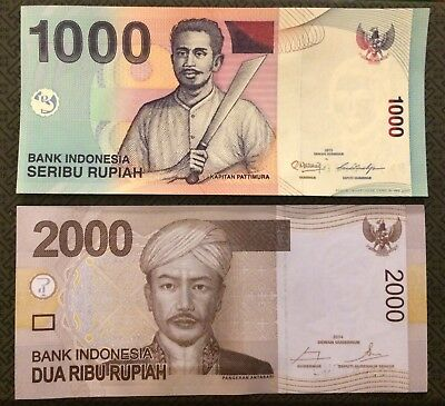 INDONESIA 1000 and 2000 Rupiah, P-141 and P-148, 2013 and 2014, UNC