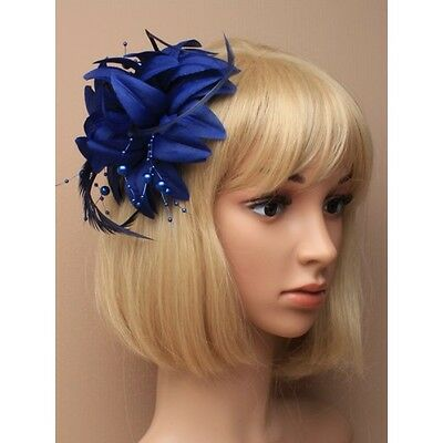 Navy Blue Flower Feather and Bead Fascinator Hair clip Brooch Pin Weddings party