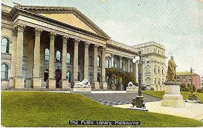 Antique 1907 Postcard The Public Library Melbourne - used