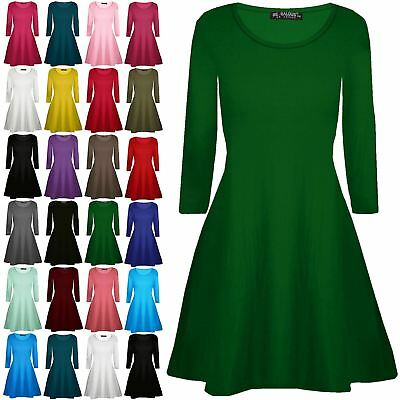 Womens Ladies Plain Jersey Flared Long Sleeve Party Mini Swing Skater Dress 8-24