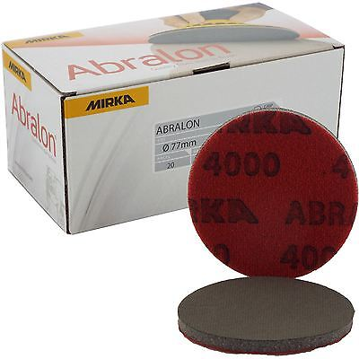 "Mirka Abralon 77mm 3"" P4000 Grit 20x HookNLoop Foam Fine Finishing Discs Pad"