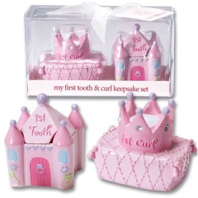 Baby Essentials Castle & Crown Baby Girl First Tooth & Curl Keepsake Box Set NIB