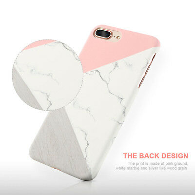 For iPhone X 7 6sPlus Glossy Granite Marble Contrast Color Hard Phone Cover Case