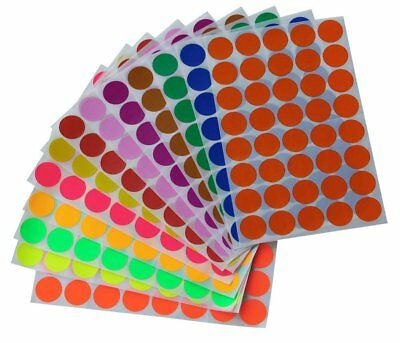 Colored Coding Dots Stickers 19mm Circle Rounded Labels 3/4 Inch 520 Pack
