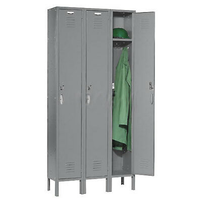 Single Tier Locker 12x15x72 3 Door RTA Gray, Lot of 1