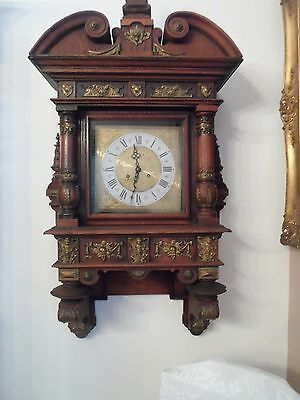 VERY unique Antique German Large Wall Clock with brass cherubs & more