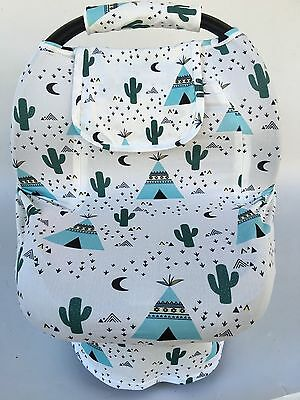 Stretchy Car Seat Cover boys girl infant CarSeat Canopy  Zippers Green Cactus