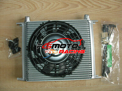 "AN10 Universal 30 Row Engine Oil Cooler w/ Fittings + 7"" Electric Fan Kit black"