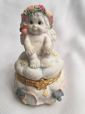 Dreamsicles Angel Child On Cloud W/Bluebirds & Stars Hinged Figurine Trinket Box