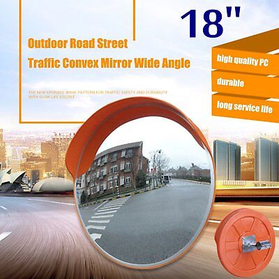 "18"" Outdoor Road Traffic Convex PC Mirror Wide Angle Driveway Safety&Security B"