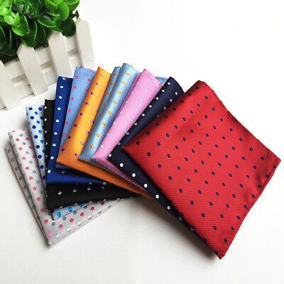 1pc Business Suits Pocket Square Handkerchiefs For Wedding Dots Polyester DAIW