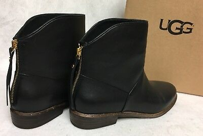 1b0b23cfef0 UGG AUSTRALIA BRUNO Mid Black Ankle Boots Booties 1018942 Women's Leather  Shoes