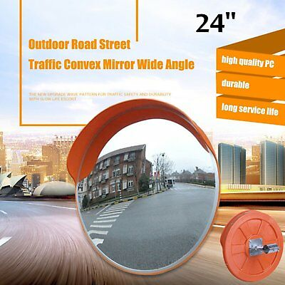 "24"" Wide Angle Security Curved Convex Road PC Mirror Traffic Driveway Safety BP~"