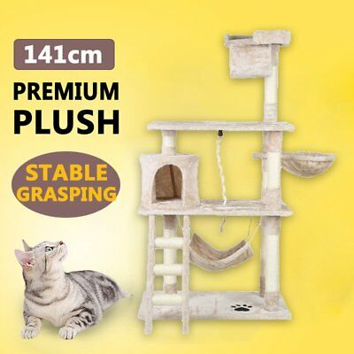141CM Cat Scratching Post Tree Scratcher Pole Furniture Gym House Toy Beige DFW