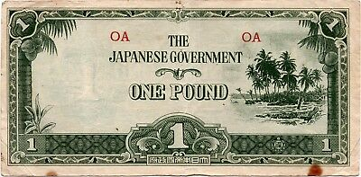 (1942) Oceania 1 Pound Japanese Occupation F-VF
