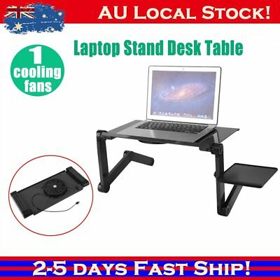 Portable Laptop Stand Desk Table Tray sofa bed Cooling Fan With Mouse Holder A