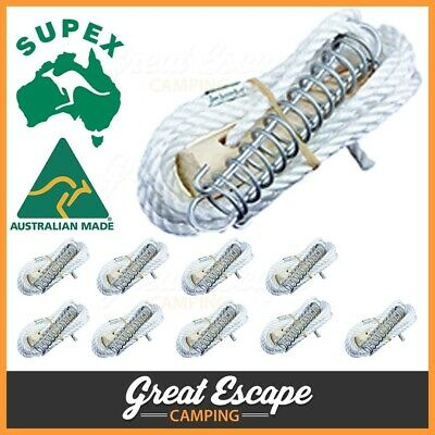 Pack of 12 Single Tent Guy Rope Runner with Spring 6mm