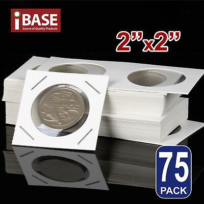"75x Staple Coin Holder 2""x2"" Display Clear Window Storage Protect Cent 35mm"