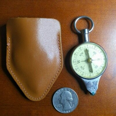 Vintage Selsi Pocket Compass and Nautical Map Scale with leather sheath Germany