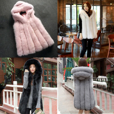 Women Long Outwear Vest Hooded Fur Winter Waistcoat Coat Jacket Gilet Outwear