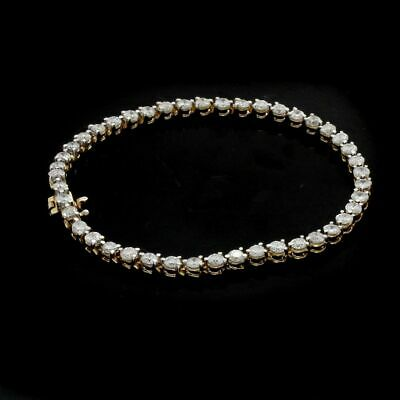 Estate 5.00 Ctw Natural Diamond Tennis Bracelet 14K Yellow Gold