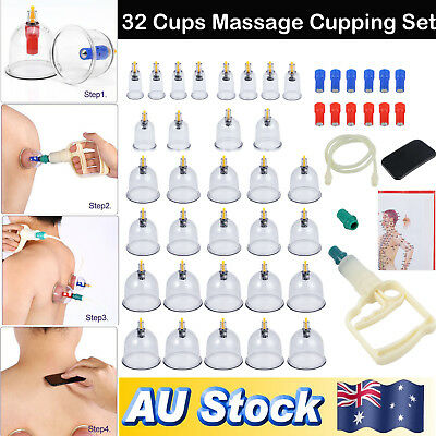 32 Cups Set Vacuum Cupping Kit Massage Acupuncture Suction Massager Pain Relief