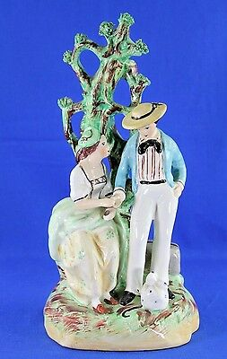 Antique Old Staffordshire England Hand Painted Departed Lover Figurine