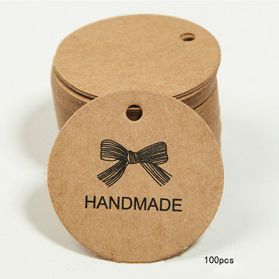 100Pcs Handmade Wedding Brown Kraft Paper Tag Favor Gift Tags Candy Box Labels