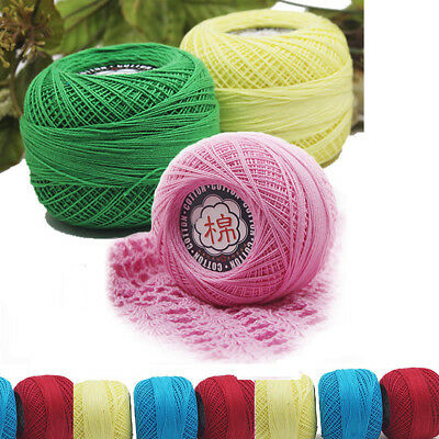 Crochet Cotton Lace Yarn Ball Hand-knitted Embroidery Tatting Thread 15 Colors